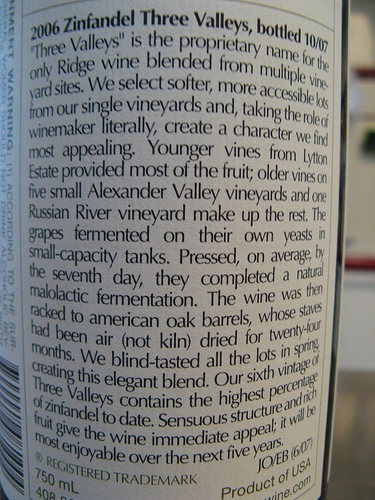 Three Valleys Label