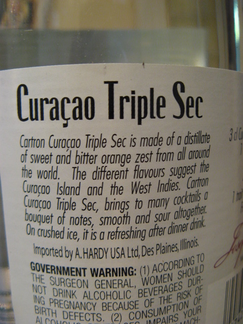 Cartron Curacao Back Label