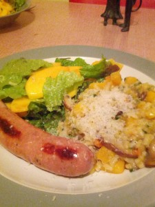 Arborio with Winter Squash, Salad and Sausage